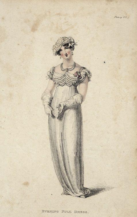 Evening full dress for March, 1812 England, Ackermann's Repository: Evening Dresses, Regency Women S, Fashion Plates, 1810 S Dresses, 1812 England, 1810S Fashion
