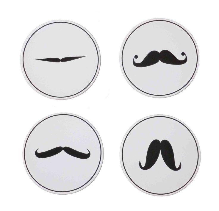 Posavasos Bigotes 4 posa-vasos con diferentes tipos de bigotes. #bigotes #mosutache #posavasos #ohmicasa #decoración