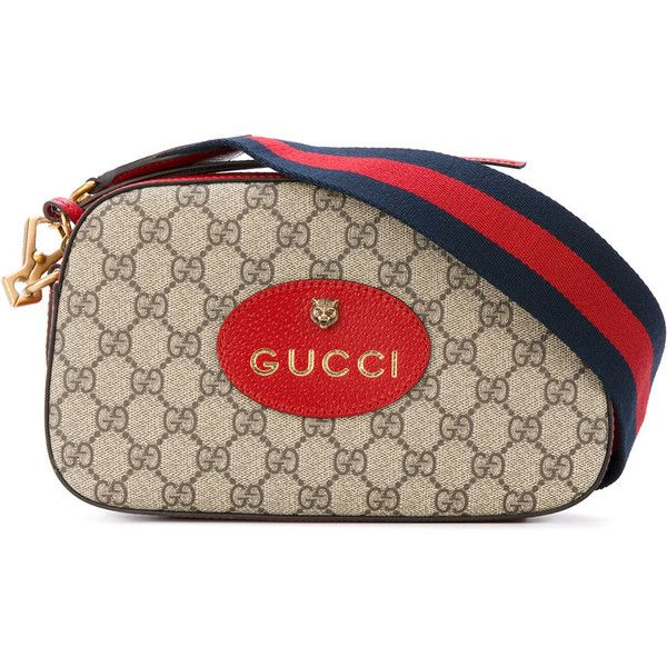 Gucci GG supreme messenger bag (16,145 MXN) ❤ liked on Polyvore featuring bags, messenger bags, zip top messenger bag, gucci, stripe messenger bag, brown bag and stripe bag