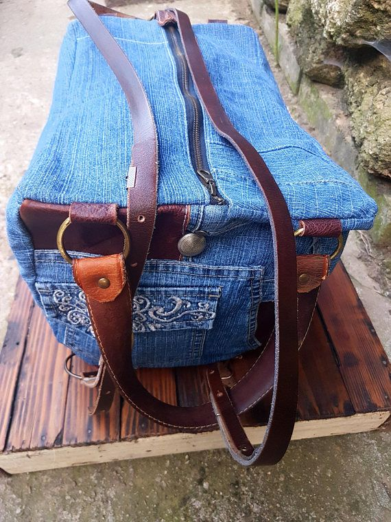 Hipster Backpack, Leather Backpack, Hippie Backpack, Boho Backpack, Duffle Bag, Travel Bag, Hiking Backpack, Leather Travel Bag This travel bag is unique, made out of denim and high quality Italian cow leather. It combines 3 types of bags, just to make your life easier and more simple. The