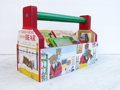 "Tool box caddy. Fill it with boys book. ""My first library"" for boys great for baby shower or 1st-3rd bday"