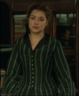 This costume has been seen several times firstly by Daniela Denby-Ashe as Margaret Hale in North and South 2004, in Bleak House 2005 worn by Gillian Anderson as Lady Dedlock, in Cranford Christmas 2009 worn by Michelle Dockery as Erminia, among others