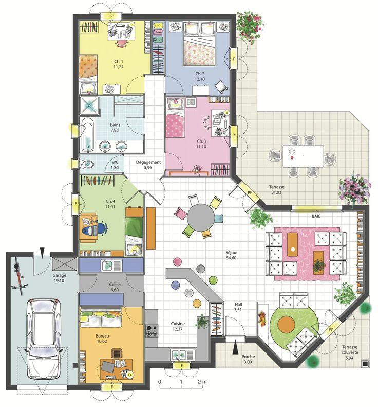 Maison Familiale Chambres Avec Bureau Terrasse Garage Et Cellier Plans Maisons