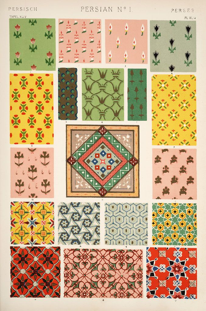 Plate from The Grammar of Ornament. This was the first book of repeating patterns that I ever owned. It is still on my bookshelf, heavily dog-eared.