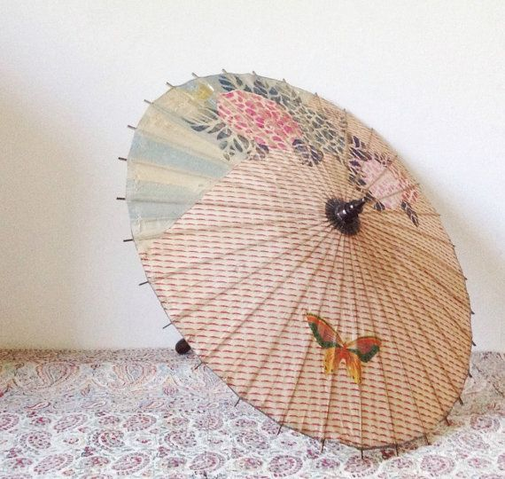 Vintage paper parasol beautiful 1930s fabric and rice by VelvetEra