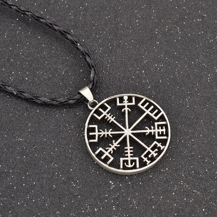 Women Men Viking Runes Vegvisir Compass Pendant Necklace Viking Odin's Symbol of Norse Runic Jewelry