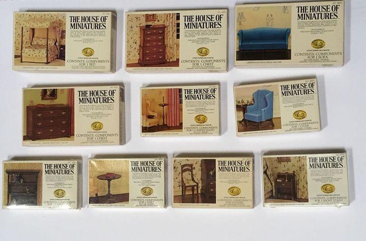 Lot 10 Dollhouse Furniture Kits House Of Miniatures Xacto Vintage 1977 Doll Wood #XACTOHouseofMiniatures