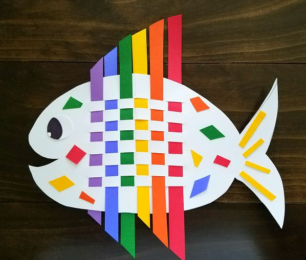 Supplies Needed: Rainbow colored paper Googly eye (or make one out of paper) White or black card stock paper Scissors/glue Start by cutting strips of the colored paper (using the long side). Cut out the shape of a fish with card stock paper and fold it in half. Use a scissors and cut slits close …