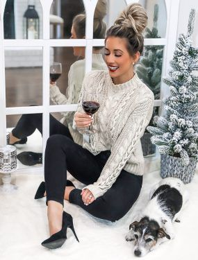 f79f91b7bca9 Walmart Chunky Cable Knit Sweater Casual Chic Holiday Outfit Steve Madden  Daisie Black Suede Pumps Laura Beverlin -111