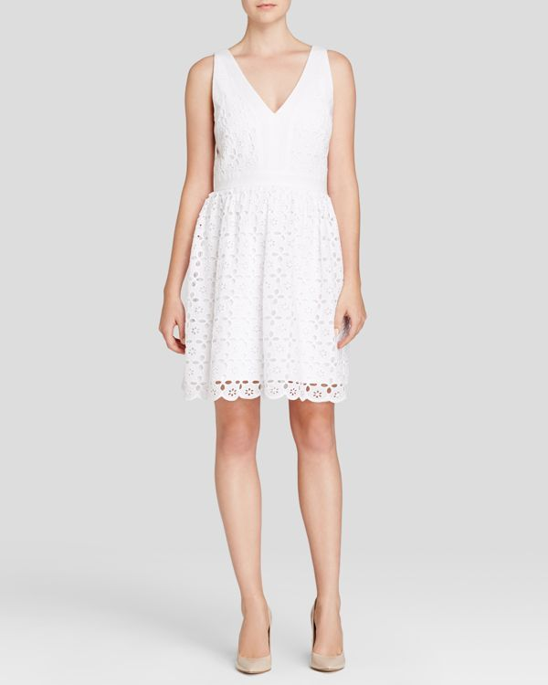 Laundry by Shelli Segal Dress - Sleeveless V-Neck Eyelet Fit and Flare