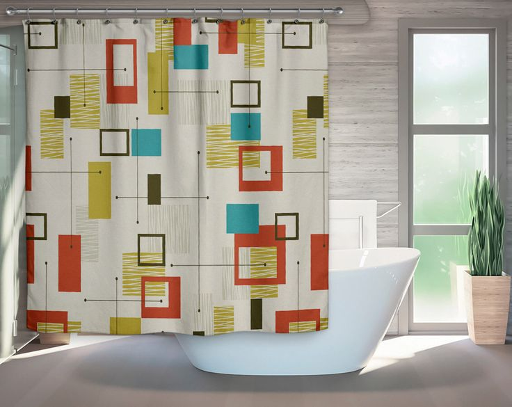 A personal favorite from my Etsy shop https://www.etsy.com/listing/574483115/mid-century-modern-shower-curtain-retro