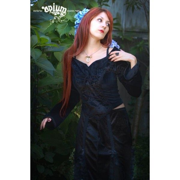 "Black Seduction: Gothic Long Sleeved corset velvet top, Sinister Skirt & ""Lamia"" Pentagram and bat necklace"