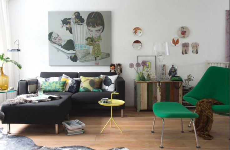 """This vivid living room is from our feature """"Quirky Talents"""