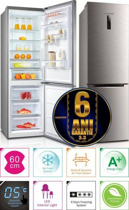 Combina frigorifica Albatros CNFX47A+ Full No Frost 338 litri Clasa A+ Display LCD Inox