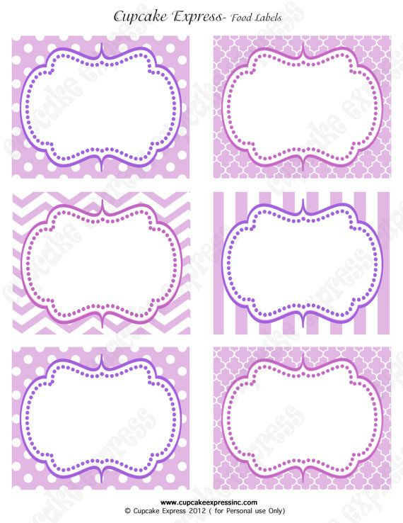 Instant Download DIY  Purple Princess Birthday Party  PRINTABLE Food Labels crown lavender purple