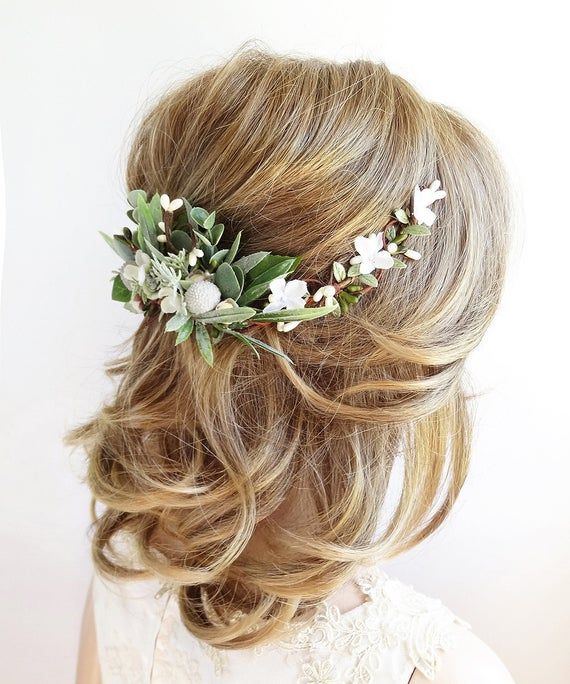 Wedding headpiece greenery eucalyptus rose hair piece