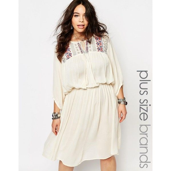 Alice & You Folk Embroidered Yoke Skater Dress ($42) ❤ liked on Polyvore featuring plus size women's fashion, plus size clothing, plus size dresses, cream, plus size, plus size skater dress, cream skater dress, plus size white dress, white skater dress and skater dress