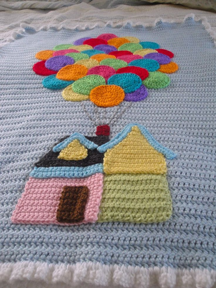 """""""Up"""" Inspired baby afghan. May have to make one for me!"""