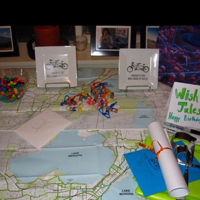 Bicycle themed birthday party, local bike maps for table cloths