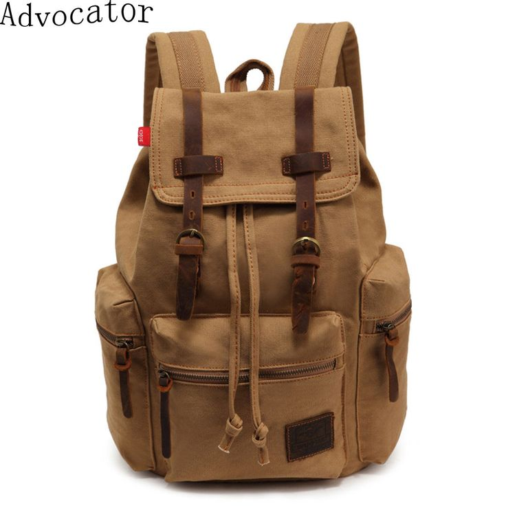 Augur Vintage Canvas Women Backpack Army Style Notebook Men Rucksack Military 15Inch Laptop School Backpacks for Boys