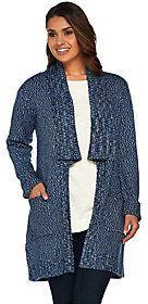 As Is Isaac Mizrahi Live! TRUE DENIM Marled Sweater w/ Shawl Collar