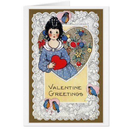 'Valentine Greetings' Vintage Card - click/tap to personalize and buy