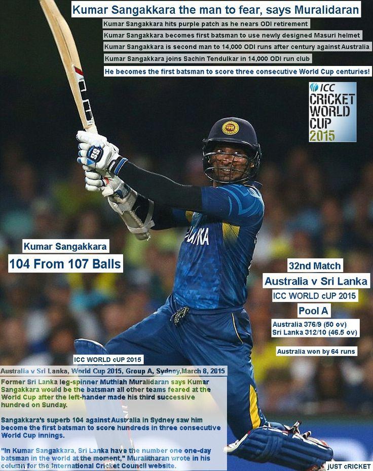 ICC WORLD cUP 2015:  Australia v Sri Lanka, World Cup 2015, Group A, Sydney, March 8, 2015  Kumar Sangakkara the man to fear, says Muralidaran