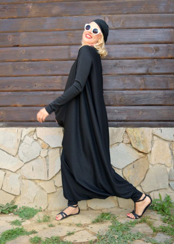 ON SALE Black Jersey Jumpsuit / Black Plus Size Jumpsuit by Teyxo
