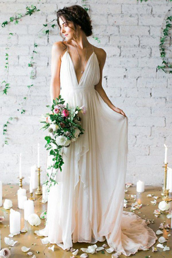 Backless Deep V-neck Sweep Train Beach Wedding Dresses With Straps N24