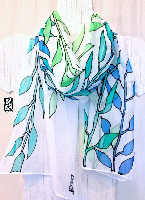 Hand Painted Silk Scarf, Blue Silk Scarf, Blue Lagoon Vines, Silk Chiffon Scarf…