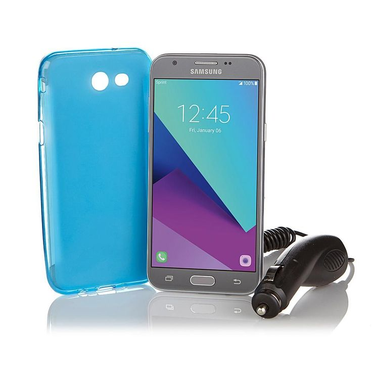 """Samsung Galaxy J3 Emerge 5"""" No-Contract with $120 Service Credit, Car Charger, Case and Apps - Virgin Mobile -"""