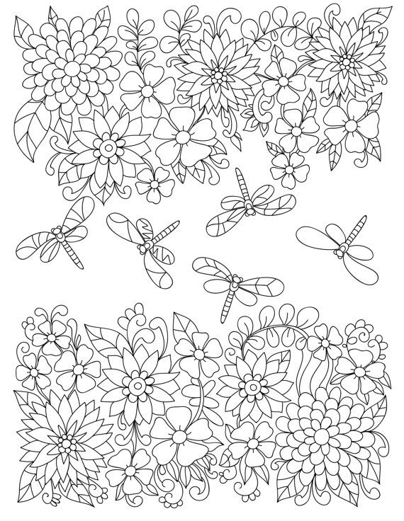 1179 best images about Adult Colouring Flowers
