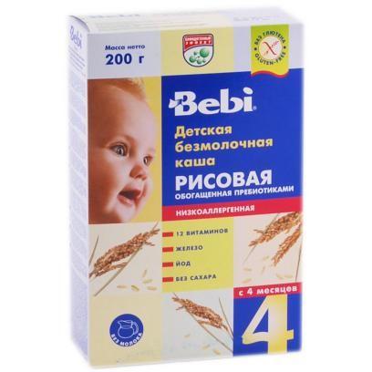 Bebi рисовая безмолочная 200 г  — 117р. ------------------------ Каша рисовая безмолочная Беби, от 4 месяцев, с витаминами и минералами