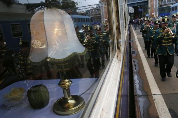 A marching band greets a historic Tehran-bound train in Nyugati Terminus in Budapest October 15, 2014.  REUTERS/Bernadett Szabo visit http://iranpocketguide.com #Iran #Persia #Tehran #Budapest #TravelToIran #MyIran #Travel2Budapest #MyBudapest