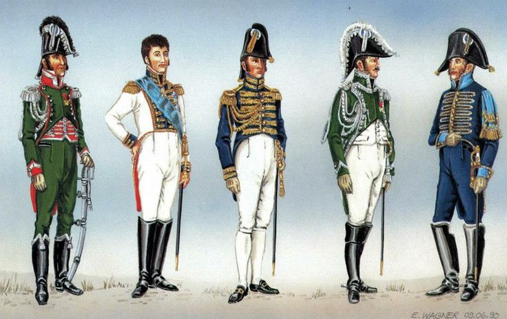 The Kingdom of Westphalia-Royal Court. From left to right: Colonel-adjutant of the King in a small uniform 1812, King Jerome Bonaparte 1810, 1810, Palace aide honorary stable master (?) King 1808-13 r, Royal Service uniform corporate small 1808-13. Fig. E. Wagner.