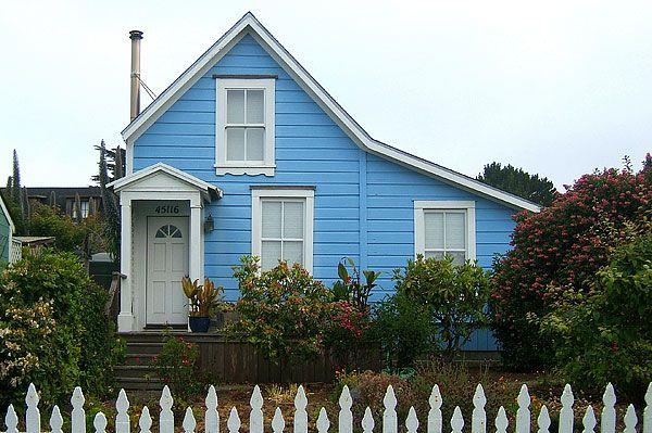 tiny blue cottage