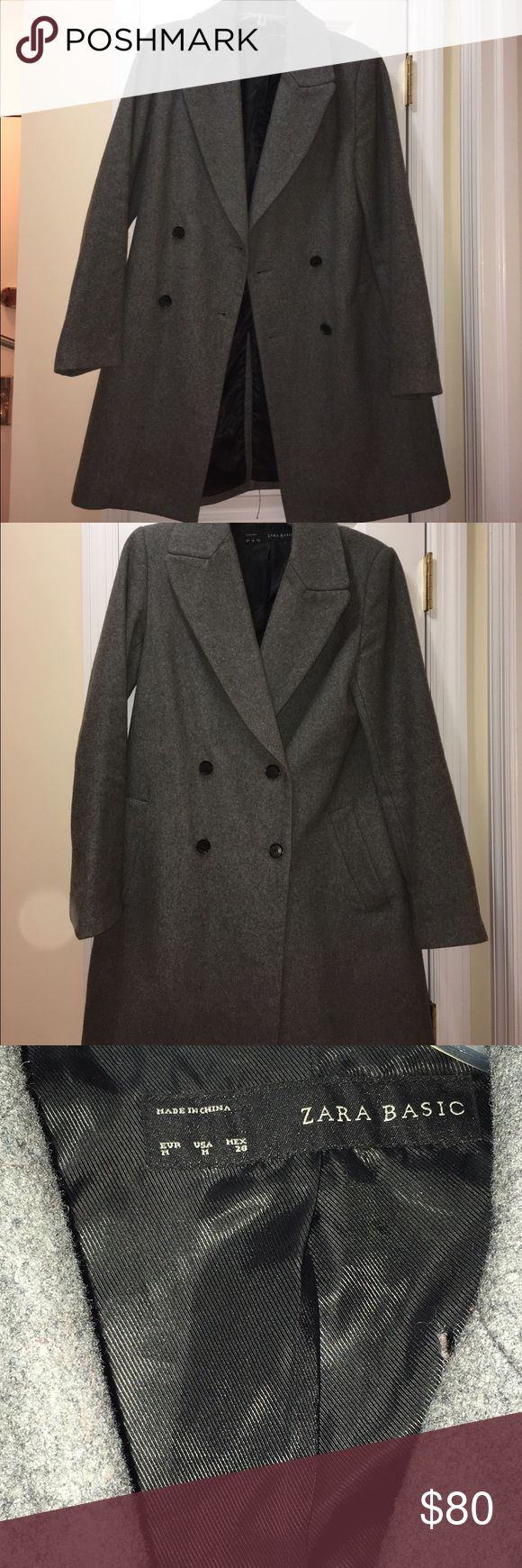 Zara Oversize Gray Winter Coat (M) A menswear-style double breasted Zara winter coat in gray. Women's size medium. Perfect for layering with a sweater or cardigan underneath. In excellent condition! Zara Jackets & Coats