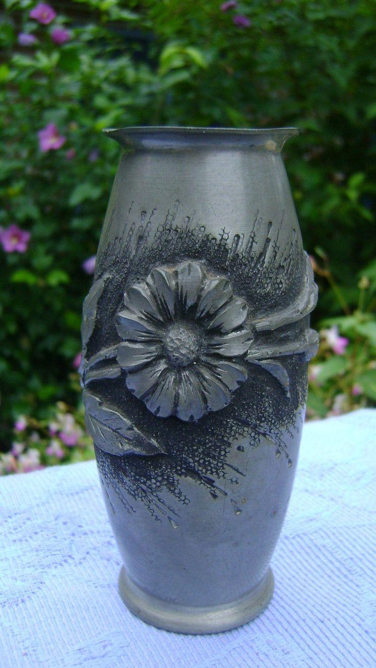 vase ancien etain d 39 art de l rozay art deco decor marguerites n1646 for sale eur 20 00 see. Black Bedroom Furniture Sets. Home Design Ideas