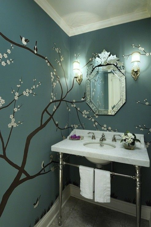 Painting for the Master bathroom. murals - Cherry blossoms on teal in a small bathroom                                                                                                                                                      More