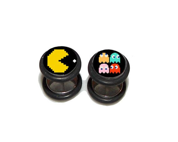 Pac Man Fake Plugs / Post Earrings 1 Pair 2 by GrudgePlugs