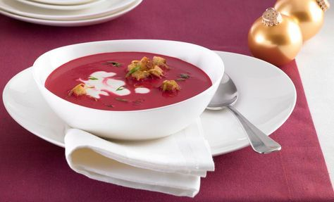 Rote Beete Cremesuppe mit Zitronen-Croutons   Rama