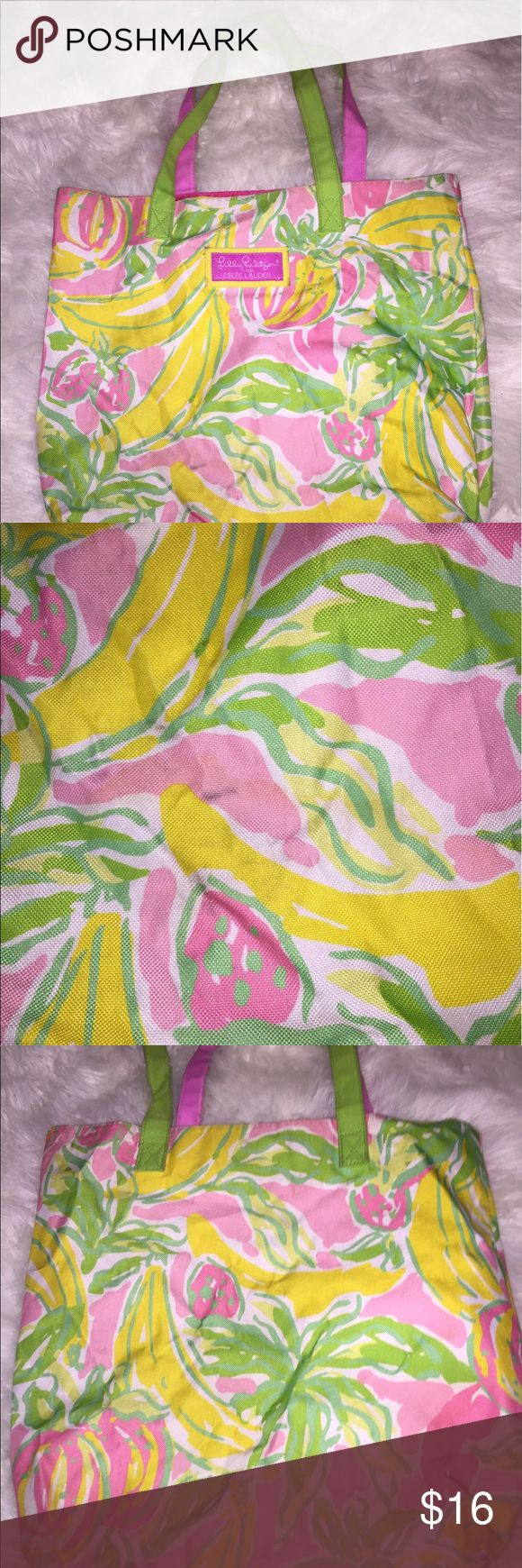 Lilly Pulitzer tote Has been used, wear shows above in photos. Can be used for the beach or just about anything! Light pink, yellows, light greens, darks pinks, deff more of a summer tote. Lilly Pulitzer Bags Totes