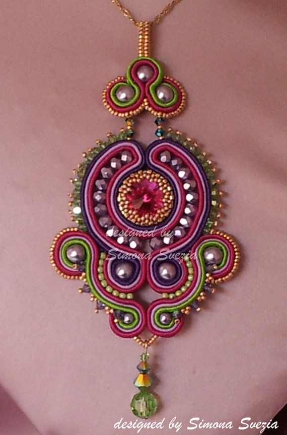 Soutache pendant Code 1 by PerlineeBijoux on Etsy