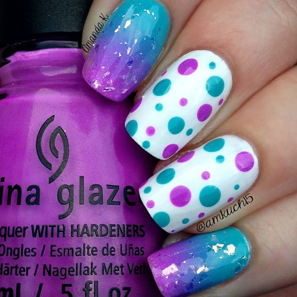 "Instagram media by amkuch15 - BlurpleMix & Match mani!I used China Glaze ""That's Shore Bright"" with Essie ""In the Cab-Ana"""