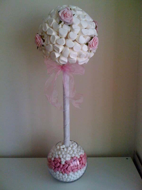 Tall Pink & White Rose Marshmallow Tree table centre piece.