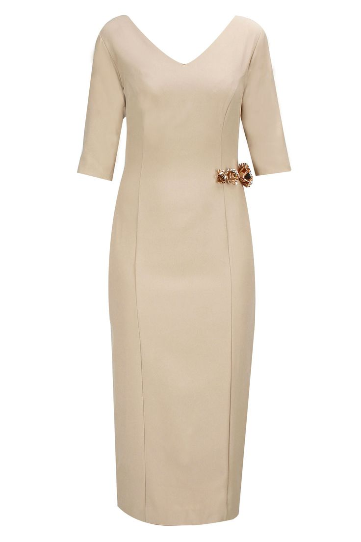 Beige metal flowers embellished calf length dress available only at Pernia's Pop-Up Shop.