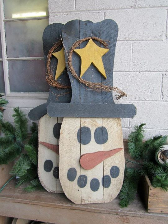 Gatherings at Olde Mill Primitives: December 2011 pallet snowmen