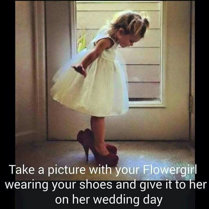 Flower girls like to dress up. Cute idea for your wedding day, and to remember down the road