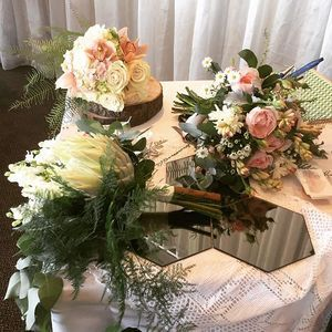 {wedding bouquets} 3 styles on show, compact round, wild & just pulled out of the garden and lastly something a little different using a gorgeous white King Protea. We have created so many different styles of wedding bouquets for many different styles of weddings . See our online consultation form www.copperbeech.com.au #weddings #northernbeacheswedding #northshorewedding