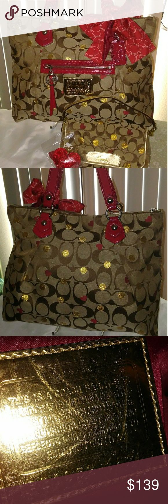 """COACH POPPY LAURA SECRET ADMIRER#16289 Coach Poppy Laura Secret Admirer Glam Tote, Coach coordinating red ponytail scarf , Coach large wristlet and generic red heart keychain. Comes with dustbag as well. Glam tote measures 16x12x4 strap drop 8"""". Bag is in pristine condition. Wallet also EUC! Keychain new. Scarf beautiful! Smoke-free home. *NO TRADES* Coach Bags Totes"""